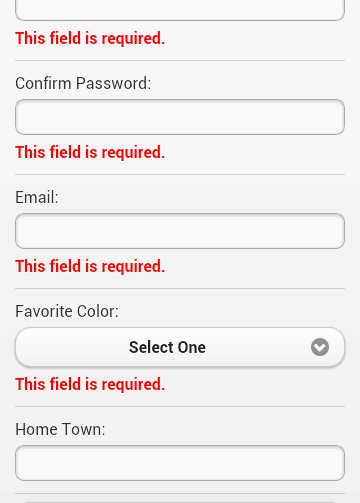 Example of form validation in a jQuery Mobile Application