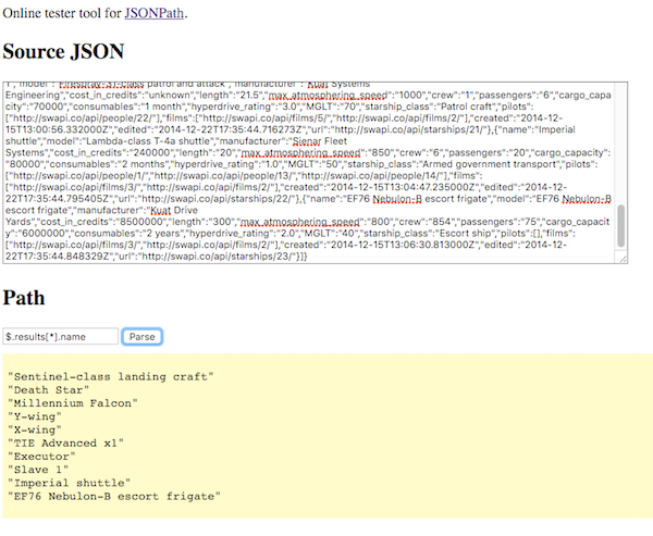 JSONPath for parsing JSON