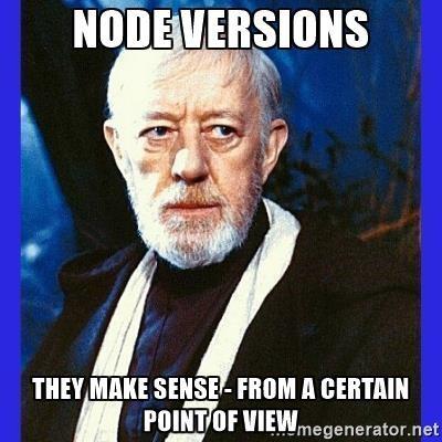 Stupid meme gif about node versioning