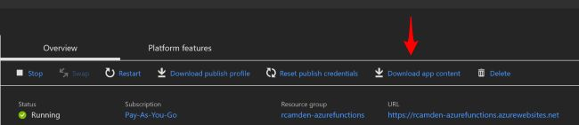 Azure Function top header showing link to download