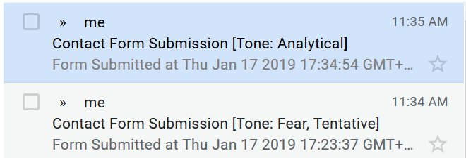 Example of tone analysis in the subject of the email