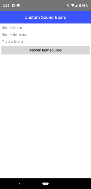 The list of recorded sounds