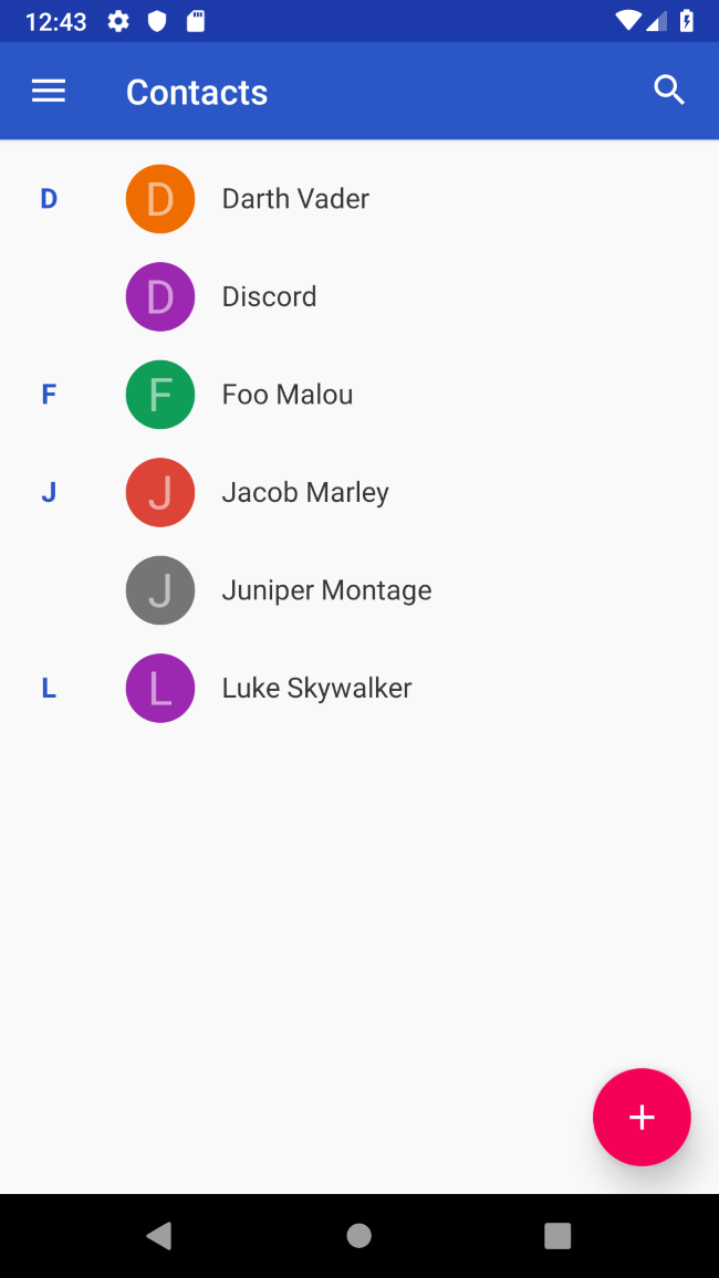 List of contacts without nice pictures