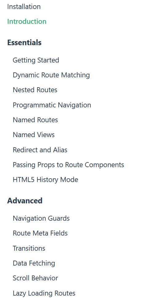 Router doc nav