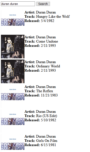 Results of searching for Duran Duran
