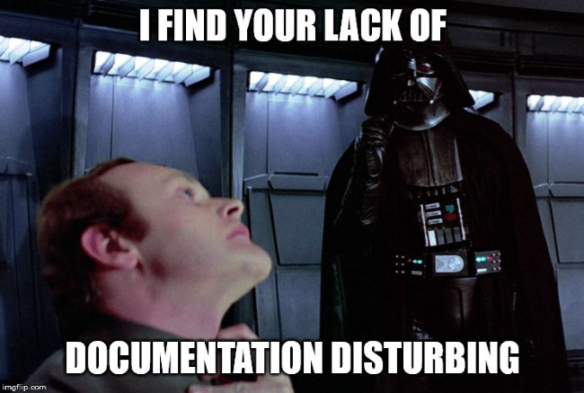 Vader talking about the lack of docs