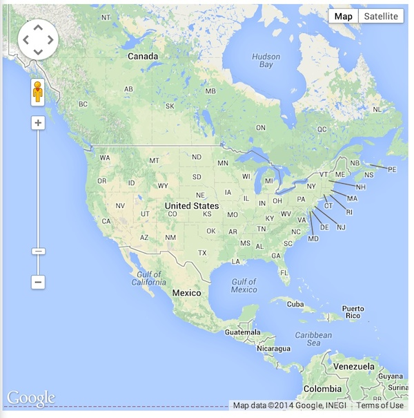 Centering A Google Map On America Raymond Camden - Washington dc location in the usa map