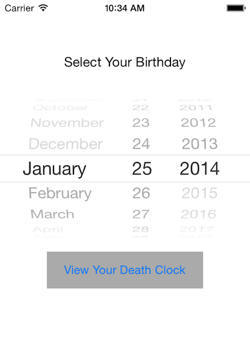 My first native iOS app - Death Clock