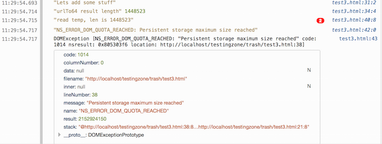 Blowing up LocalStorage (or what happens when you exceed quota)