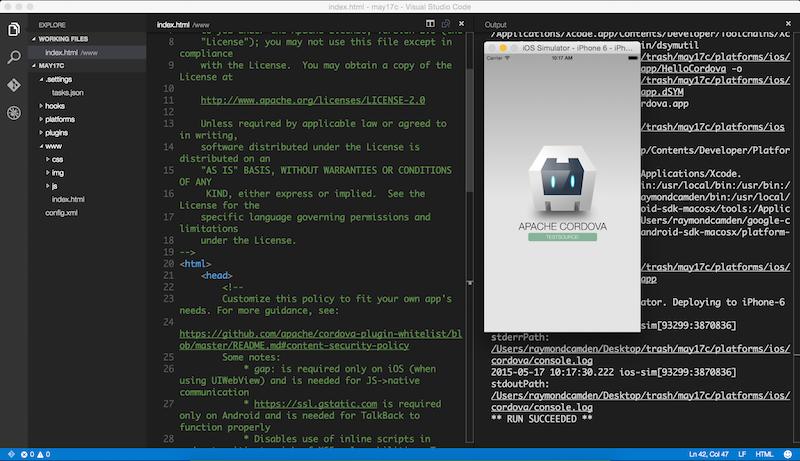A simple Cordova task runner for Visual Studio Code