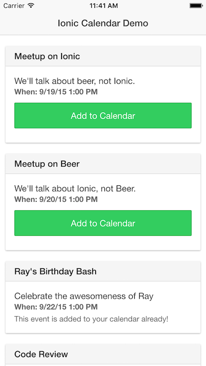 Integrating the Calendar into your Ionic App