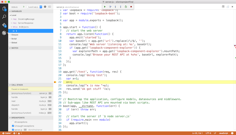 A quick look at debugging Node js with StrongLoop and Visual Studio Code